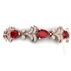 24.8 CTW Royalty Designer Ruby & VS Diamond Bracelet 18K Rose Gold - REF-472H8W - 38734
