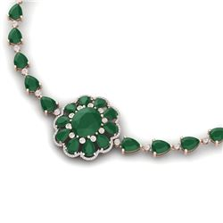 78.98 CTW Royalty Emerald & VS Diamond Necklace 18K Rose Gold - REF-763T6X - 39169