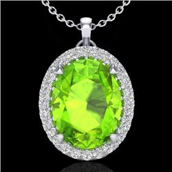 2.75 CTW Peridot & Micro VS/SI Diamond Halo Solitaire Necklace 18K White Gold - REF-51M5F - 20594