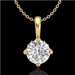 0.82 CTW VS/SI Diamond Solitaire Art Deco Necklace 18K Yellow Gold - REF-180T2X - 37027