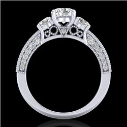2.07 CTW VS/SI Diamond Solitaire Art Deco 3 Stone Ring 18K White Gold - REF-270X2T - 37016