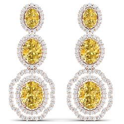 16.15 CTW Royalty Canary Citrine & VS Diamond Earrings 18K Rose Gold - REF-290X9T - 39217