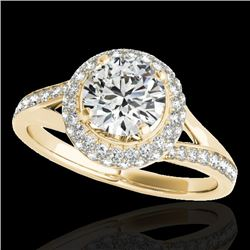 1.6 CTW H-SI/I Certified Diamond Solitaire Halo Ring 10K Yellow Gold - REF-178M2F - 34116