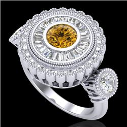 2.62 CTW Intense Fancy Yellow Diamond Art Deco 3 Stone Ring 18K White Gold - REF-290R9K - 37924