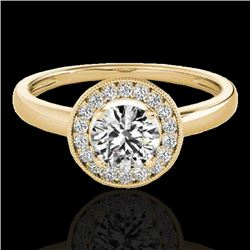 1.15 CTW H-SI/I Certified Diamond Solitaire Halo Ring 10K Yellow Gold - REF-152H8W - 33465