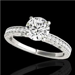 1.43 CTW H-SI/I Certified Diamond Solitaire Antique Ring 10K White Gold - REF-180H2W - 34612