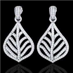 2.50 CTW Micro Pave VS/SI Diamond Certified Earrings Designer 18K White Gold - REF-214Y5N - 21151