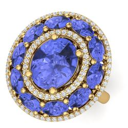 8.49 CTW Royalty Tanzanite & VS Diamond Ring 18K Yellow Gold - REF-218F2M - 39248
