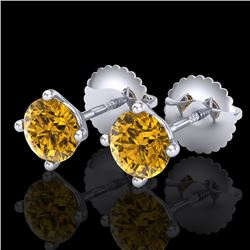 1.01 CTW Intense Fancy Yellow Diamond Art Deco Stud Earrings 18K White Gold - REF-100F2M - 38232