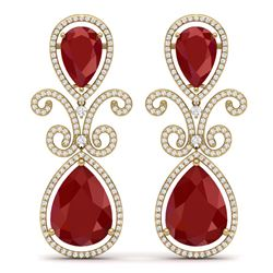 31.6 CTW Royalty Designer Ruby & VS Diamond Earrings 18K Yellow Gold - REF-445F5M - 39545