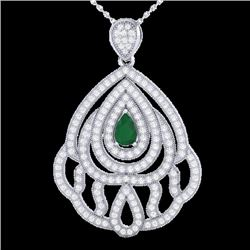 2 CTW Emerald & Micro Pave VS/SI Diamond Designer Necklace 18K White Gold - REF-169T6X - 21261