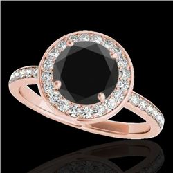 1.65 CTW Certified Vs Black Diamond Solitaire Halo Ring 10K Rose Gold - REF-140T2X - 34373