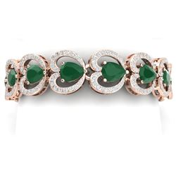 32.15 CTW Royalty Emerald & VS Diamond Bracelet 18K Rose Gold - REF-690F9M - 38686