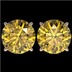 5 CTW Certified Intense Yellow SI Diamond Solitaire Stud Earrings 10K Rose Gold - REF-1390X5T - 3315
