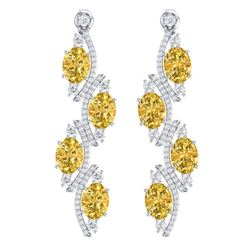 13.32 CTW Royalty Canary Citrine & VS Diamond Earrings 18K White Gold - REF-236M4F - 38991