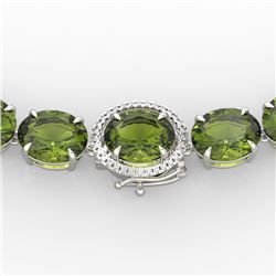 145 CTW Green Tourmaline & VS/SI Diamond Necklace 14K White Gold - REF-1166K2R - 22300