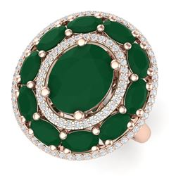 8.05 CTW Royalty Designer Emerald & VS Diamond Ring 18K Rose Gold - REF-143M6F - 39238