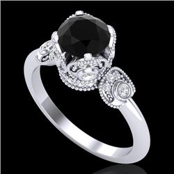 1.75 CTW Fancy Black Diamond Solitaire Engagement Art Deco Ring 18K White Gold - REF-134W5H - 37401