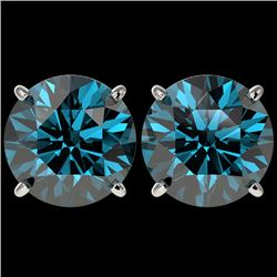 5 CTW Certified Intense Blue SI Diamond Solitaire Stud Earrings 10K White Gold - REF-1390R5K - 33148