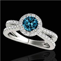2 CTW SI Certified Blue Diamond Solitaire Halo Ring 10K White Gold - REF-231R8K - 33860