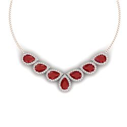 34.72 CTW Royalty Ruby & VS Diamond Necklace 18K Rose Gold - REF-690Y9N - 38830