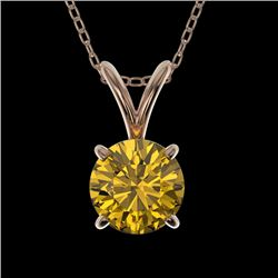 0.79 CTW Certified Intense Yellow SI Diamond Solitaire Necklace 10K Rose Gold - REF-100R2K - 36749