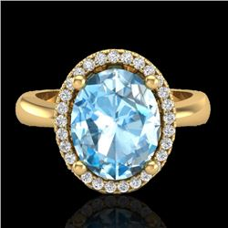 3 CTW Sky Blue Topaz & Micro Pave VS/SI Diamond Ring Halo 18K Yellow Gold - REF-50Y9N - 21099