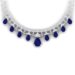 56.94 CTW Royalty Sapphire & VS Diamond Necklace 18K White Gold - REF-1072M8F - 38706