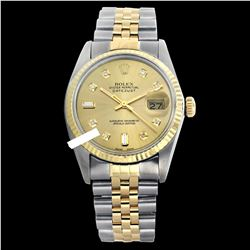 Rolex Men's Two Tone 14K Gold/SS, QuickSet, Diamond Dial with Fluted Bezel - REF-370K9R