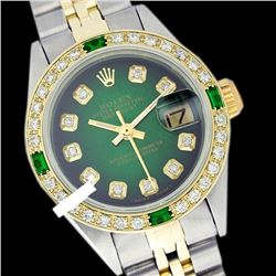 Rolex Men's Two Tone 14K Gold/SS, QuickSet, Diam Dial & Diam/Emerald Bezel - REF-474W5K