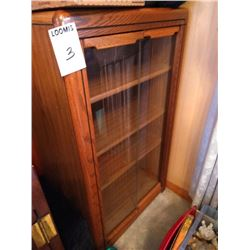 SOLID OAK GLASS FRONT CABINET
