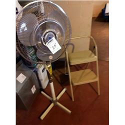 FLOOR FAN & COSCO STEP STOOL