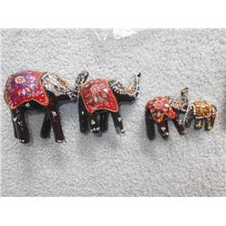 "4 PC Egyptian Wooden Inlay Elephant Set, 2"" to 4"""