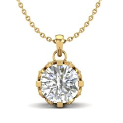1.14 CTW VS/SI Diamond Art Deco Stud Necklace 18K Yellow Gold - REF-205F5M - 36844