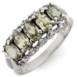 1.80 CTW Green Sapphire & Diamond Ring 10K White Gold - REF-27H8W - 10302