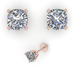 1.02 CTW Cushion Cut VS/SI Diamond Stud Designer Earrings 18K Rose Gold - REF-162R9K - 32288