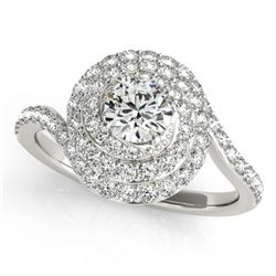 1.54 CTW Certified VS/SI Diamond Solitaire Halo Ring 18K White Gold - REF-228T5X - 27048