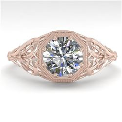 1.01 CTW VS/SI Diamond Solitaire Engagement Ring 18K Rose Gold - REF-301X9T - 36032