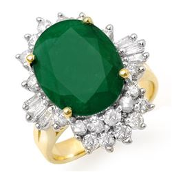 5.41 CTW Emerald & Diamond Ring 14K Yellow Gold - REF-114T2X - 13274