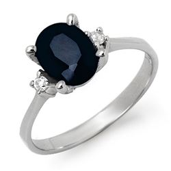 2.33 CTW Blue Sapphire & Diamond Ring 18K White Gold - REF-32M9F - 12429