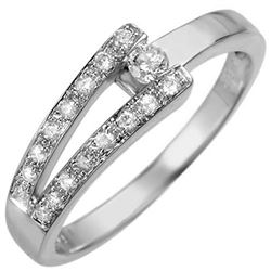 0.30 CTW Certified VS/SI Diamond Ring 18K White Gold - REF-44H2W - 10285