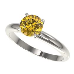1.25 CTW Certified Intense Yellow SI Diamond Solitaire Ring 10K White Gold - REF-179N3Y - 32911