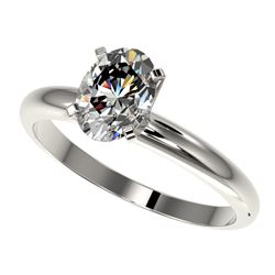 1.25 CTW Certified VS/SI Quality Oval Diamond Solitaire Ring 10K White Gold - REF-370R8K - 32913