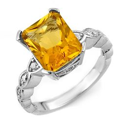 4.25 CTW Citrine & Diamond Ring 10K White Gold - REF-33K3R - 10851