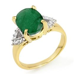 4.24 CTW Emerald & Diamond Ring 10K Yellow Gold - REF-37F6M - 13033