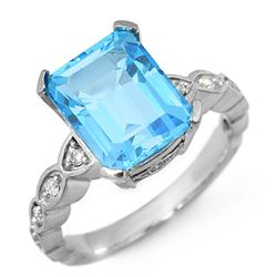 5.25 CTW Blue Topaz & Diamond Ring 10K White Gold - REF-33T8X - 10584