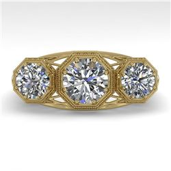 2 CTW Past Present Future VS/SI Diamond Ring 18K Yellow Gold - REF-421N6Y - 36064