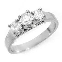 0.85 CTW Certified VS/SI Diamond 3 Stone Ring 14K White Gold - REF-119X3T - 10978