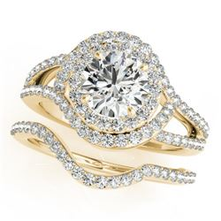 1.92 CTW Certified VS/SI Diamond 2Pc Wedding Set Solitaire Halo 14K Yellow Gold - REF-256F2M - 31264