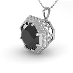 1.50 CTW Black Diamond Solitaire Necklace 18K White Gold - REF-61Y6N - 36012